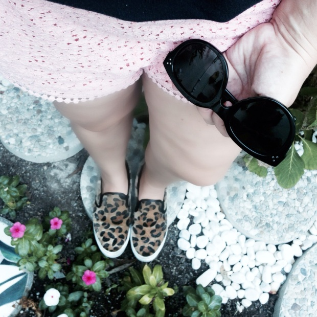 brandy melvile black vneck t shirt top, zara pink lace runner shorts, forever21 leopard slip on shoes, romy gold nude oversized hobo bag with studs, black celine audrey sunglasses, brandy meilville long nceklace, stylemesamira