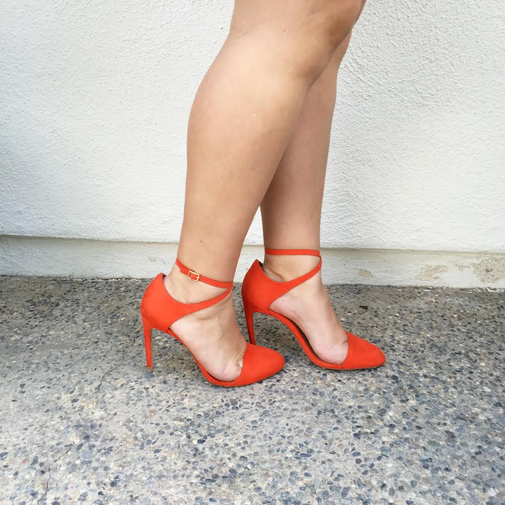 Zara Red Ankle Strap Shoes